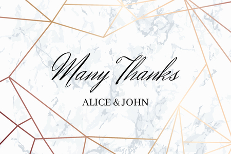 Many thank geometric design card template. White marble background and rose gold geometric pattern. Dimensions 6x4 inch. Seamless pattern included. Eps10. Vectores