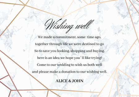 Wedding Well Wishes Card template. Geometric design in rose gold on the marble background. Advice for the Bride and Groom. Dimensions 5x3,5 inch. Seamless marble pattern in the palette. Illustration