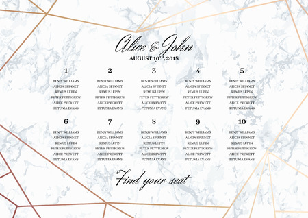 Wedding Seating Chart Poster Template.. Geometric design in rose gold on the marble background. Dimensions horizontal A3 format. Seamless marble pattern in the palette.