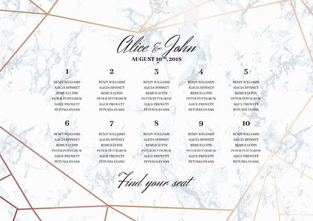 Plantilla de cartel de carta de asientos de boda. Diseño geométrico en oro rosa sobre fondo de mármol. Dimensiones en formato A3 horizontal. Patrón de mármol sin fisuras en la paleta.