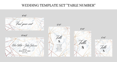 Wedding template set Table Number cards. White marble background and rose gold geometric pattern. Printable size.