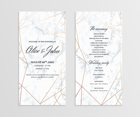 Geometric design in rose gold on the marble background. Illustration