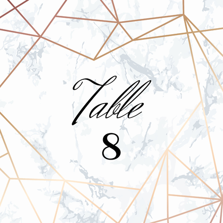 Wedding template. Tented Table Numbers card. White marble background and rose gold geometric pattern. Dimensions 4x4 inch plus 0,25 bleed. Seamless pattern included in palette.