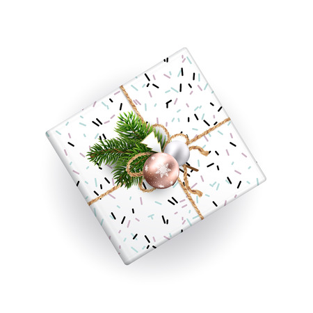 Christmas gift box top view. Realistic illustration. Black and white wrapping paper. Decoration of Christmas toys and Christmas branches. EPS10.  イラスト・ベクター素材