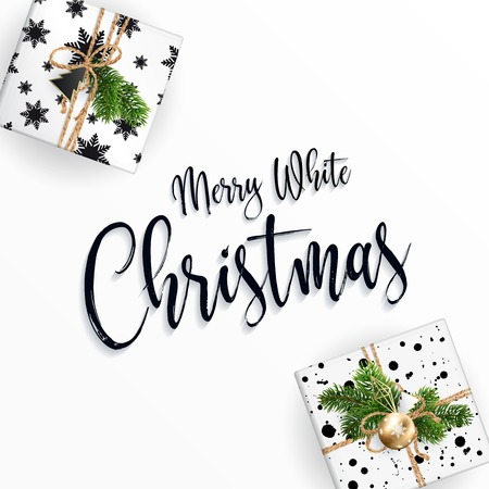 Christmas card. Gift boxes and merry Christmas calligraphic inscription. White clean background.