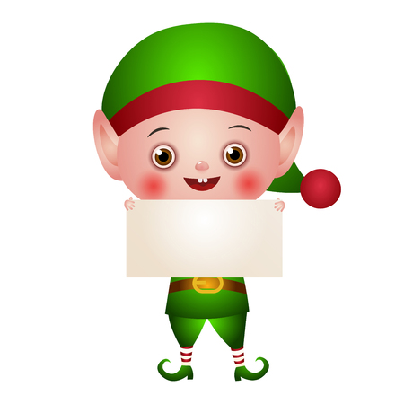 Illustration of the character. Christmas elf, Santa helper in a green suit. A cute little boy with an empty placard in the hands.
