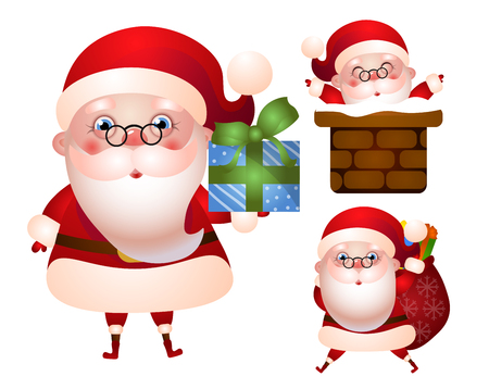Set of xmas illustrations of Santa Claus character. Santa holds a gift box, with a bag of gifts and welcomes everyone from the chimney.