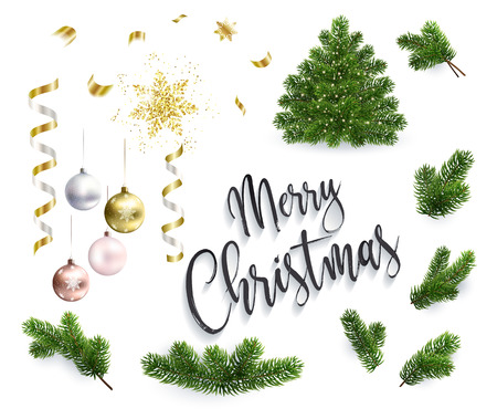 Set of Christmas objects, toys, ribbons and fir tree branches. Xmas tree and inscription Merry Christmas. Realistic illustrations, isolated on white background.