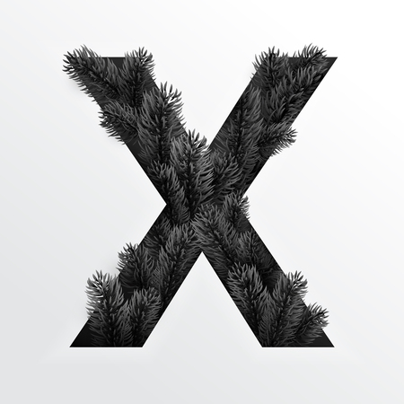 Paper cut letter X. Hole with protruding branches of the black Christmas tree. Design 3d sign isolated on white background. Realistic illustration in vector.