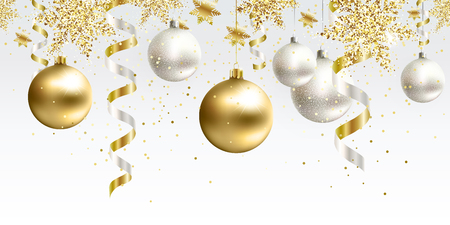 Festive Christmas seamless pattern decoration for website, social networks, blog or your video channel. Horizontal the endless tape. White and gold christmas balls and serpentine with glitter. Çizim