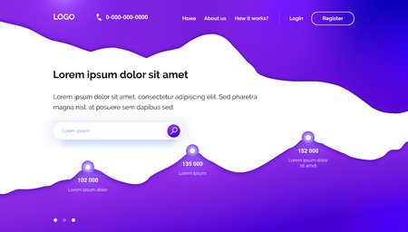 Purple Wavy background. Landing page template. Paper cut 3D design. A layout for seo, development, software, crm, database or training platform. Banner for the first screen with a diagram. Site header