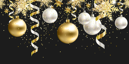 Horizontal Christmas seamless pattern decoration for website, social networks, blog or your video channel. Holiday the endless tape. Black and gold christmas balls and serpentine with glitter. EPS 10. Çizim