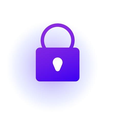 The web icon of a padlock. Sign lock. Purple gradient. Professional web design.