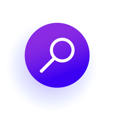 The web icon of a Magnifier. Search sign. Purple gradient. Professional web design. Vector illustration. EPS10. Çizim