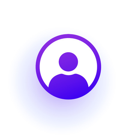 Purple user icon in the circle with shadow. A solid gradient.