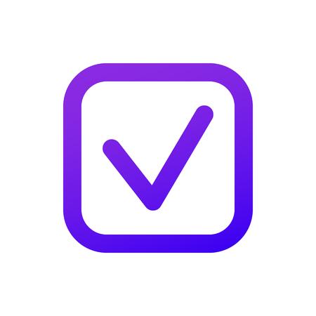 The web icon of a Checkbox icon. Thin Checkmark. Purple gradient. Professional web design.