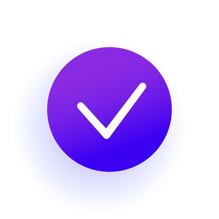 Thin Checkmark. Purple gradient. The web icon of a Checkbox icon in a circle. Professional web design.