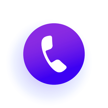 Phone icon. The handset is in a circle. Purple gradient with shadow. Solid color. For user interface in web, ui and ux design.