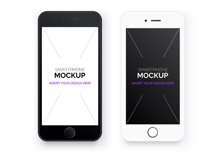 Realistic mobile phone. Set white and black smartphone. Mockups with blank screen isolated on background. Use to represent your design. Game, site and application mockup. Vector illustration.