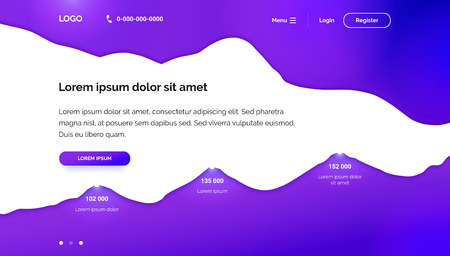 Purple Wavy background. Banner template for Landing page. Paper cut 3D design. A layout for seo, development, software, crm, database or training platform. Banner for the first screen with a diagram. 向量圖像