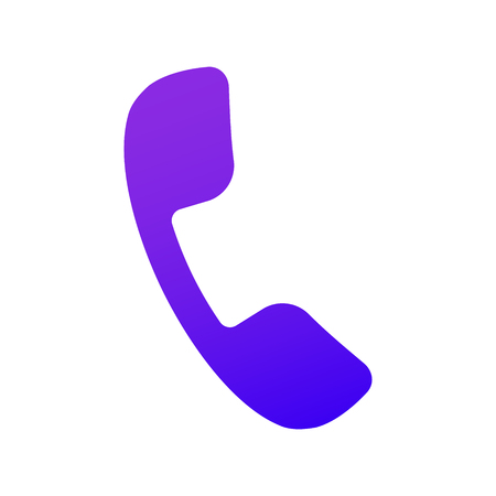 Phone icon. Handset icon in solid fill. Purple gradient with shadow. Solid color. For user interface in web, ui and ux design. Çizim