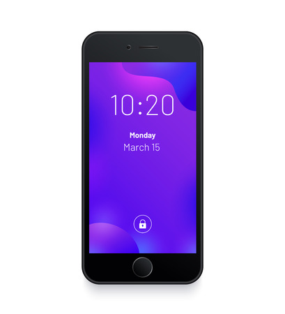 Black smartphone. Abstract purple background. Mobile interface wallpaper design. High detailed realistic mobile mockup. Mobile front view display template.