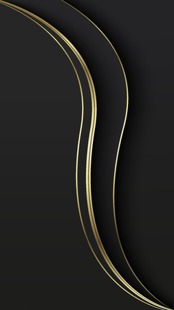Abstract overlap wavy background. Paper cut. Black and gold. Theme for smartphone. Presentation cover, mobile app, screen wallpaper. Blank layout for text and message. 向量圖像