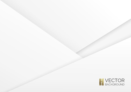 Abstract geometric background overlap piece of paper. Overlay white layers. Triangular sheets of paper. Presentation cover, brochure, wallpaper. Blank layout for text. Realistic vector illustration.