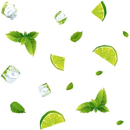 Seamless pattern, cool refreshing summer mojito with ice cubes, mint leaves and lime.