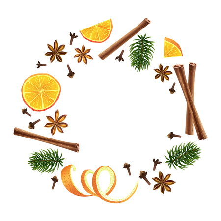 Wreath. Round garland of spices, orange and fir. Christmas decoration. Vector illustration. Different group objects. A group of individual elements. Ingredients of mulled wine. Çizim