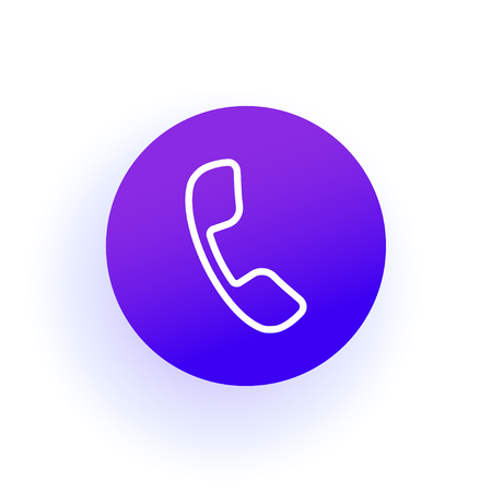 Phone icon. The thin handset is in a linear circle. Purple gradient with shadow. Solid color. For user interface in web, ui, ux design and for developer mobile app. Çizim