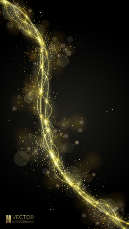 Way of gold dust. Wave of golden sparkling confetti. Abstract shiny glitter texture. Shining curve and magic stardust. Luxury background.