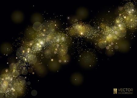 Weg aus Goldstaub. Welle funkelnder Partikel. Abstrakte glänzende Glitzertextur. Glänzende Kurve und magischer Sternenstaub. Luxus-Hintergrund. Die Milchstraße von den Sternen im Universum. Der kosmische Raum.