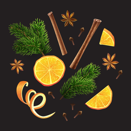 Large set of spices, orange, fir branches on black background. Vector illustration. Different group objects. A group of individual elements. Ingredients of mulled wine.
