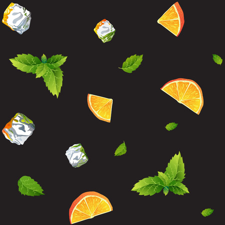 Seamless pattern with ice cubes, mint leaves and orange on black background. Perfect summer decoration for menu, restaurant business, packaging, textile or fabric.
