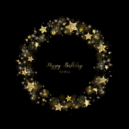 Gold round wreath of sparkles. Decoration. Glitter frame for greeting cards. Circlet of golden powder, stars and light effects.