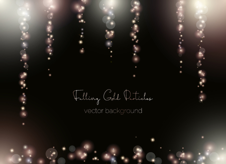 Falling shimmer particles. Magic of light sparks and blurred spots. Vector blank background in the center for text message.