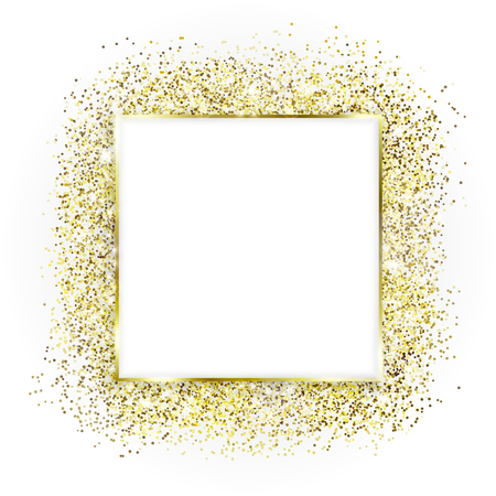 Golden square frame and glitter. White background. Glowing particles texture around. Decoration with blank center for text. Box of golden powder, sparkles and light effects. Çizim
