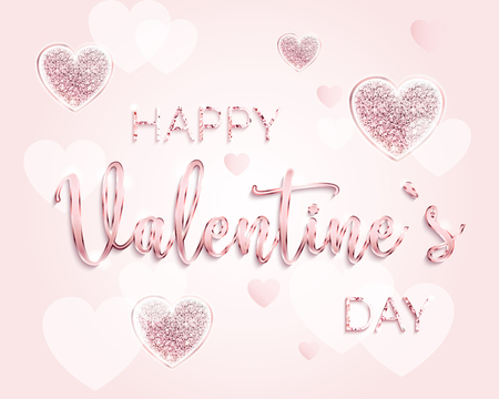 Happy valentines day design card. Sparkle hearts. Festive template. Glittering three pink hearts on pink background. Rose gold color. Vector Illustration. Vertical format. EPS10.