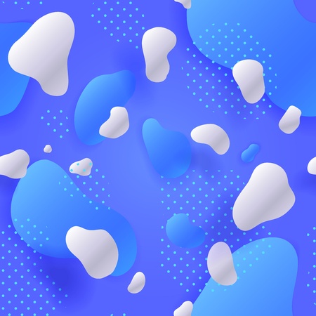 Blue Seamless pattern. Colorful gradient. Abstract Geometric background. Fluid shapes composition and Liquid forms. Eps10. Vector illustration. Blue and white colors.