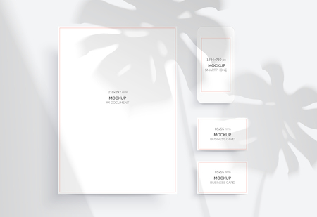 Branding Mockups. Natural lighting shadows overlay. Scene of Tropical Leaf Shadows. The monstera leaves. Photo-realistic vector illustration. A4 document, Smartphone and Business card.