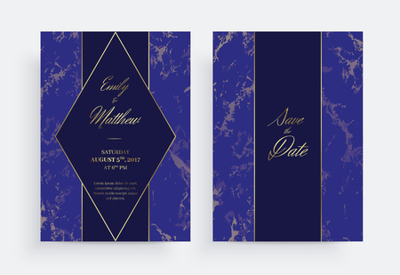 Invitation card template of geometric design. Gold and marble. Two side. Invitation to a wedding party. Dimensions 5x7 inch. Eps10. Seamless pattern included.