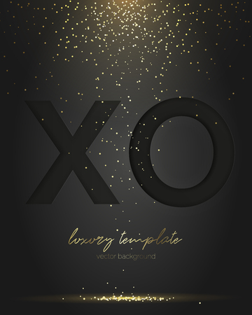 Black XO paper cut letter. Falling Golden confetti. Luxury greeting. Vector. Glamorous greeting design template. Suitable for any holiday, new Year, Christmas, birthday, anniversary or invitation.