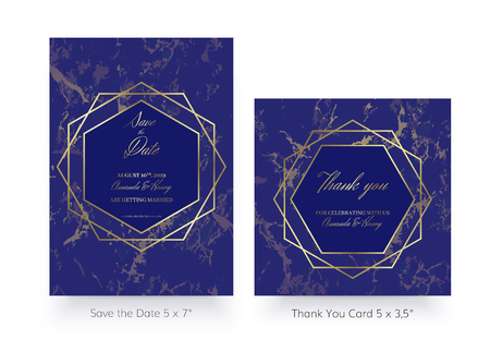 Invitation card template. Save the date and thank you cards. Geometric design of Gold and marble. Luxury ultramarine colors. Set of Invitations to a wedding party. Dimensions 5x7 inch and 5x35.
