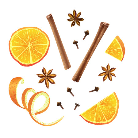Set of orange, star anise, cloves and cinnamon. Vector illustration. Set of orange pieces. Collection of different isolated elements. Half, slice, peel with serpentine. Spices for mulled wine. Иллюстрация