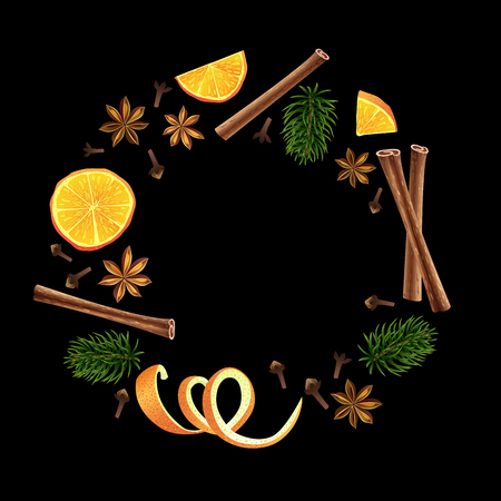 Wreath. Round garland of spices, orange and fir. Christmas decoration. Vector illustration. Black background. A group of individual elements. Ingredients of mulled wine.