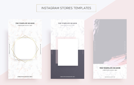 Instagram stories banner templates with Marble. Luxury style.Vector Illustration. Pack from three layouts. Cool geometric design.