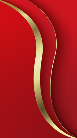 Abstract overlap wavy background. Paper cut. Red and gold. Theme for smartphone. Presentation cover, mobile app, screen wallpaper. Blank layout for text and message.