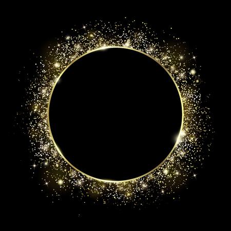 Cadre rond doré et paillettes. Fond noir. Texture de particules incandescentes autour. Centre vide pour le texte. Cercle de poudre dorée et effets de lumière. Des paillettes de luxe, des étincelles scintillantes et éclatantes.