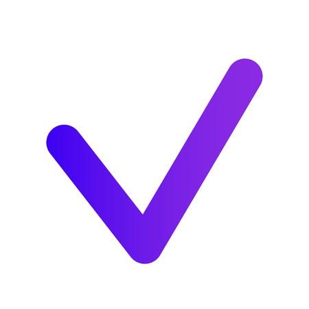 Thin Checkmark. Purple gradient. The web icon of a Checkbox icon. Professional web design.